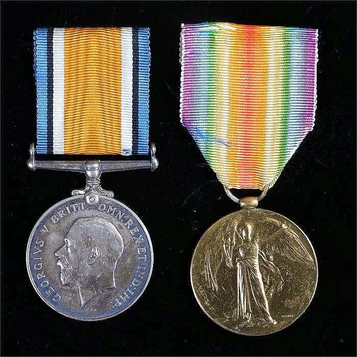 First World War pair of medals, British War medal and Victory medal ( N.C.