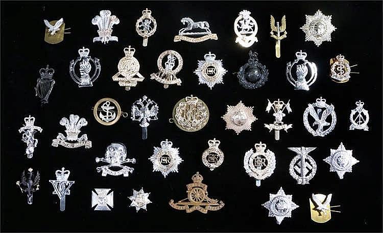 Collection of British Staybright anodised aluminium cap badges, including,