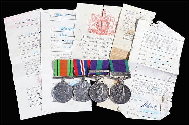 RAF group of four consisting of Defence and War Medals with Elizabeth II Ge