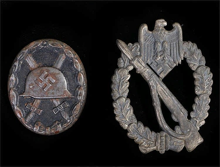 German Third Reich Infantry Assault badge in silver , hollow back, no maker