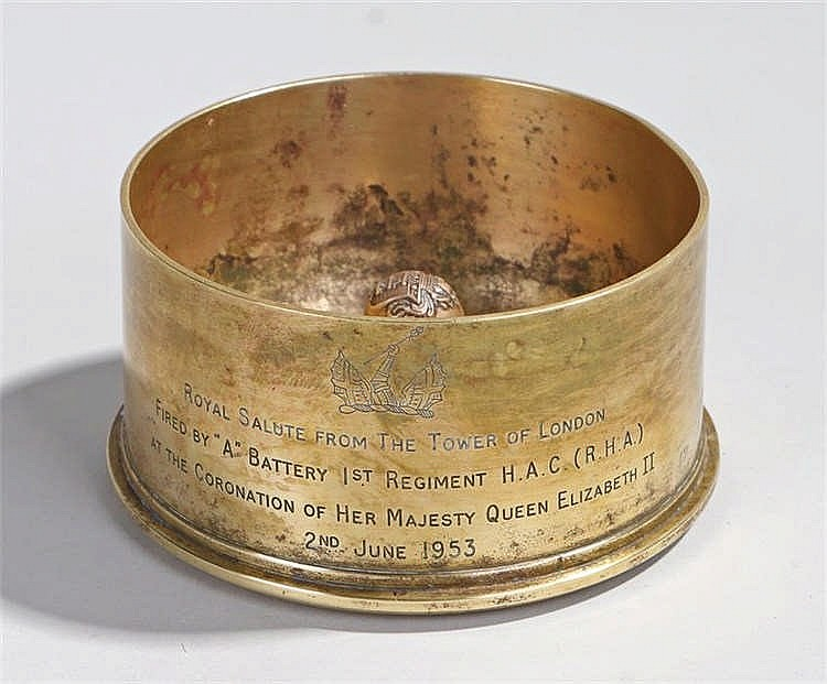 Royal Salute shell casing, the 1945 shell case with the script to the front