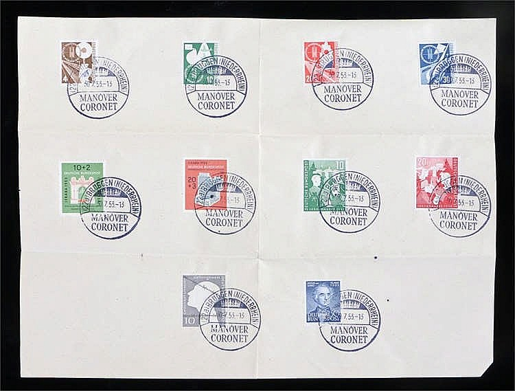 Sheet of ten German postmarked stamps to include 1953 transport and Frankf