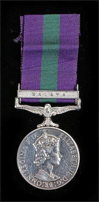 Elizabeth II General Service Medal Malaya to 22775312 TPR G. Downey 13/18th