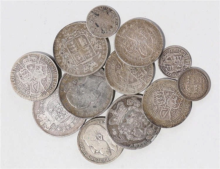 Collection of pre 1947 coins, to include two George IIII Half Crowns, two V