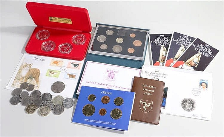 Coins, to include uncirculated coins, Pobjoy 1984 Olympics set, Crowns, als