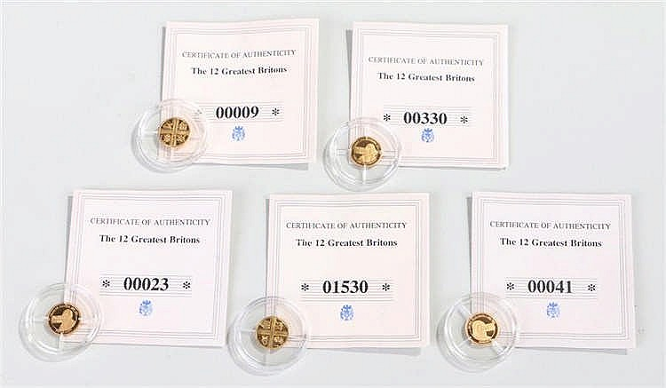 Greatest Britons capsulated gold coins, to include five of the coins out of