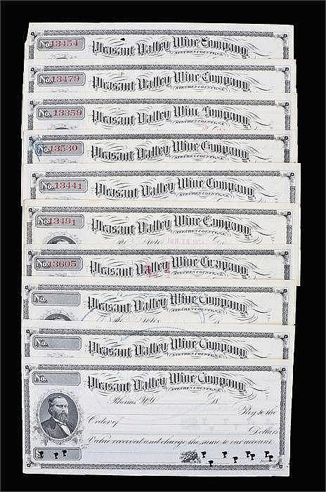 Pleasant Valley Wine Company, 1890's, collection of cheques - Stock Ref:462