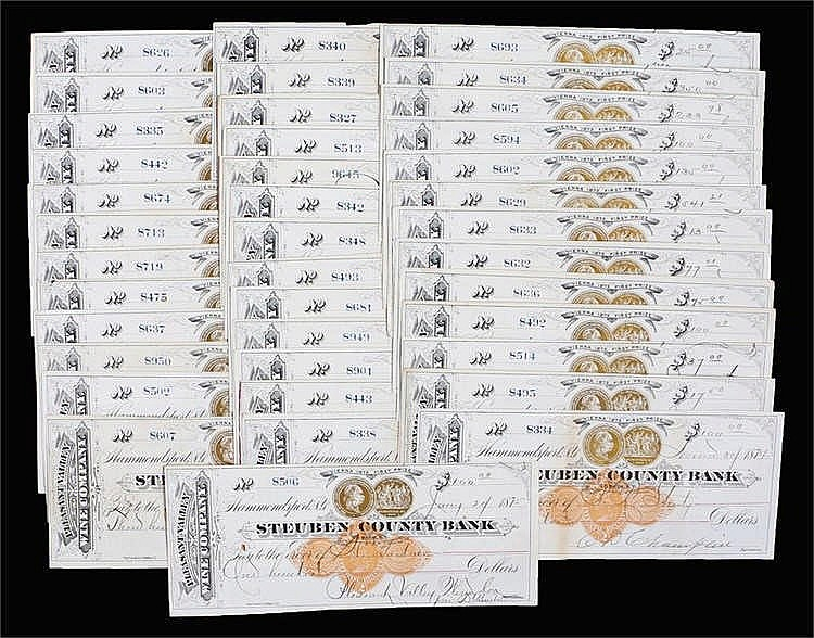 Steuben County Bank, 1870's, collection of cheques, (qty) - Stock Ref:4627-