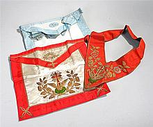 Masonic Aprons, a blue example, together with a gold thread and velvet cros