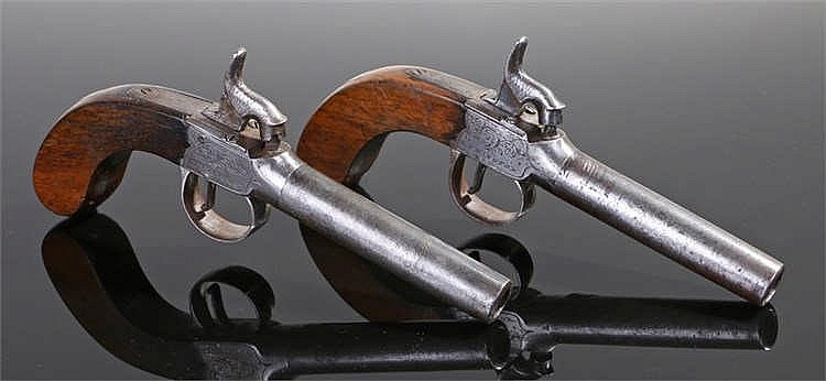 19th century matched pair of percussion box lock pistols by Clayton of Lymi