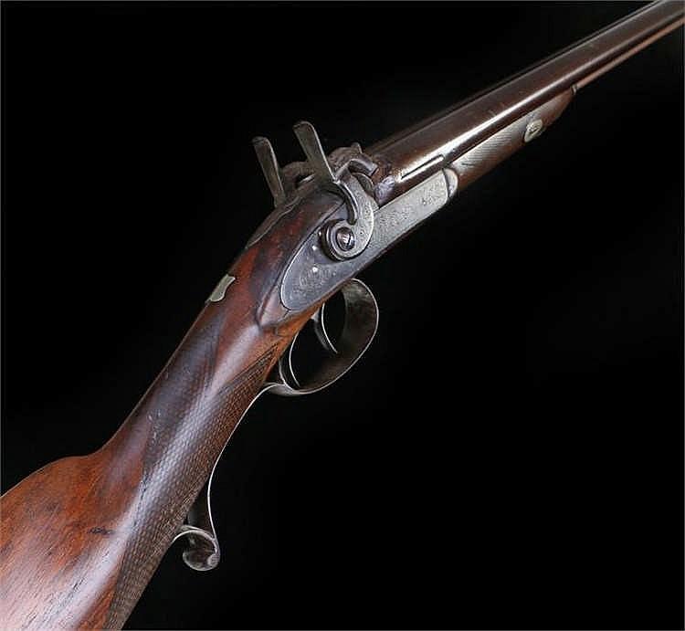 19th Century R Windsor double barrelled percussion 12 bore shotgun, lock en