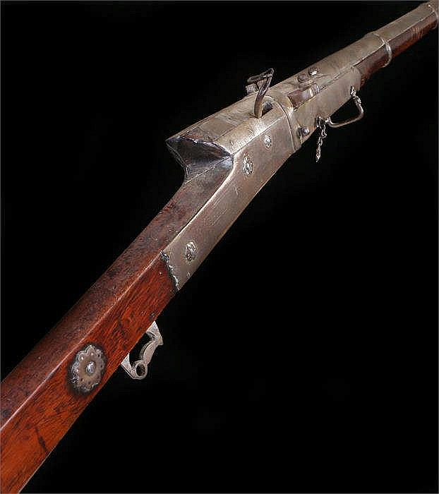 19th Century matchlock or toradar with a smooth-bore, round steel barrel, f