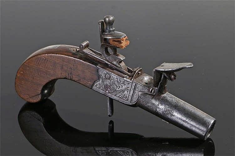 19th century flintlock box lock pocket pistol with screw barrel, folding tr