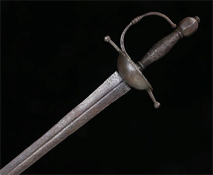 18th Century small sword, double edged blade with full length fuller to bot