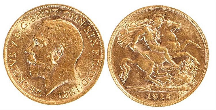 George V Half Sovereign, 1912, St George and the Dragon - Stock Ref:2315-38