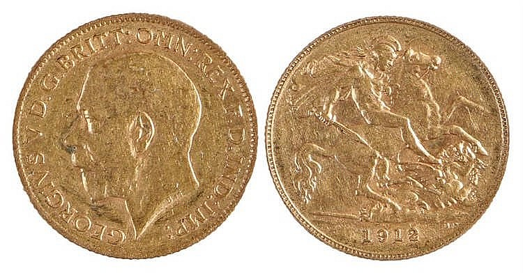 George V Half Sovereign, 1912, St George and the Dragon - Stock Ref:3293-17