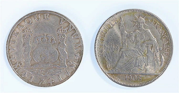 French Indo-china Piastre, 1908 0.900 Poids, together with a Mexico Phillip