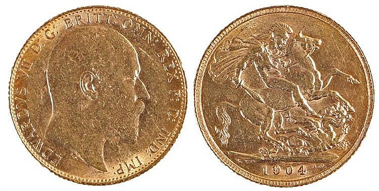 Edward VII Sovereign, 1904, St George and the Dragon - Stock Ref:4359-2