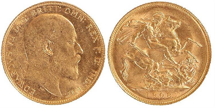 Edward VII Australia Sovereign, 1908, Melbourne mint, St George and the Dra