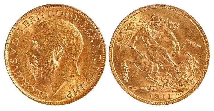 George V Sovereign, 1911, St George and the Dragon - Stock Ref:4870-1