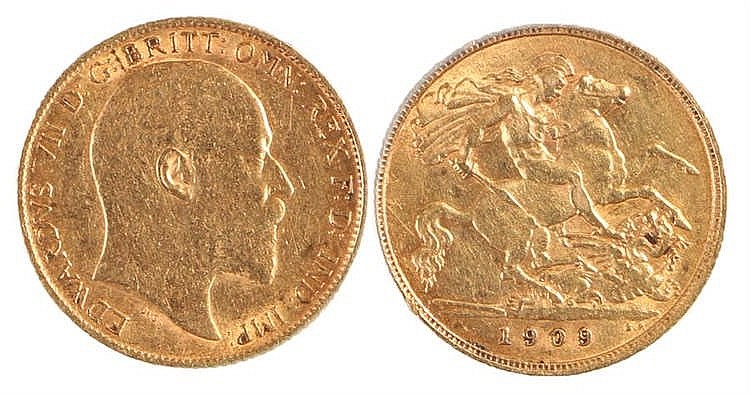 Edward VII Half Sovereign, 1909, St George and the Dragon - Stock Ref:5216-
