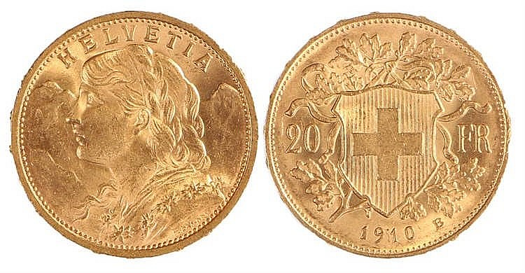 Switzerland, Helvetia 20 gold Francs, 1910 - Stock Ref:2315-63