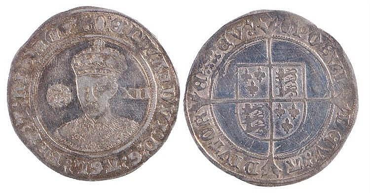 Edward VI Shilling, facing bust, rose I, value XII - Stock Ref:3145-23
