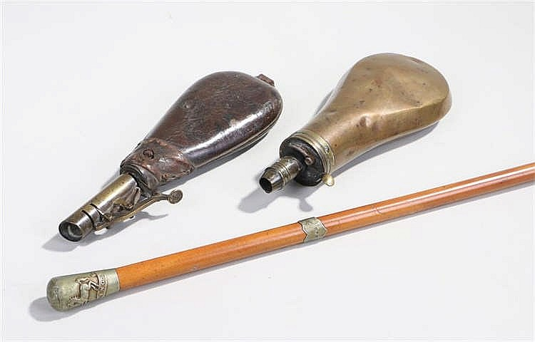 Malacca swagger stick, the cap with emblem of the King's regiment and with