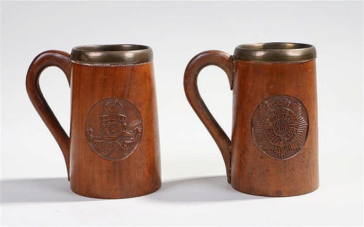 Pair of wooden, metal lined, mugs carved with the crest of the Royal Artill