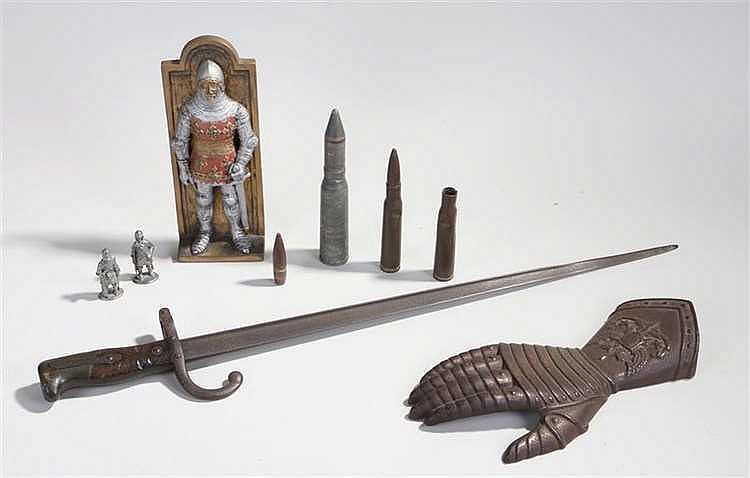 Mixed lot to include late 19th Century French bayonet, gauntlet, standing f