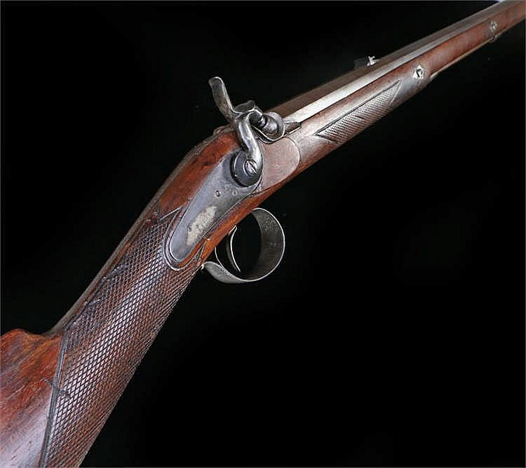 Circa 1840 hunting rifle, eight sided barrel, lock engraved T Boss. Barrel