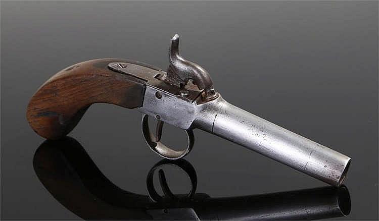 19th Century box lock percussion pocket pistol with steel trigger guard. Ov
