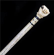 Fine George III whalebone tortoiseshell and baleen walking stick, the clenc