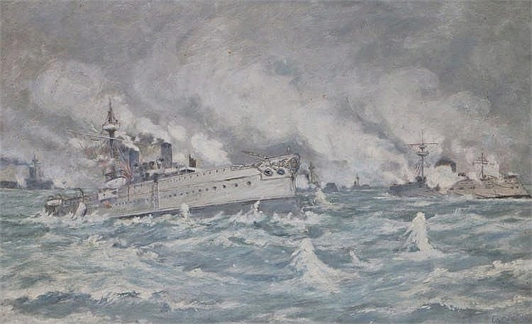 F A Eve 1913 depicting a naval engagement possibly between the Greek and Tu