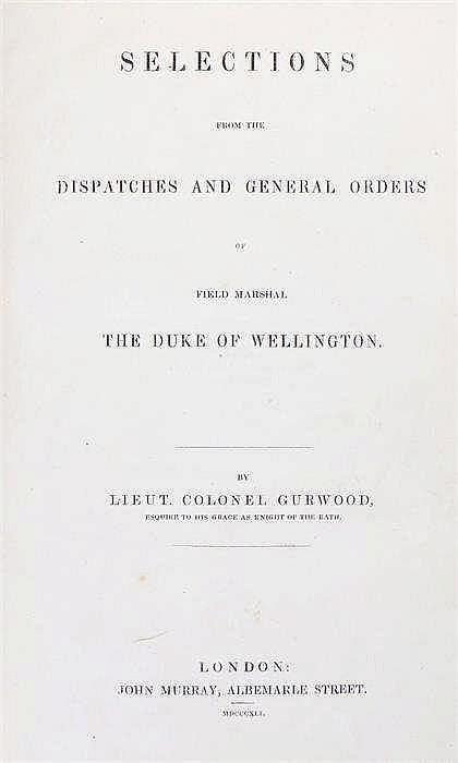 Wellington's Dispatches by Lieut. Colonel Gurwood London 1841 with brown le