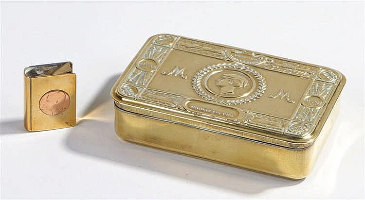World War One 1914 Christmas tin and a trench art brass cigarette lighter i