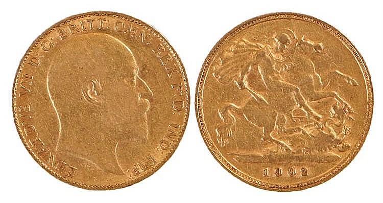 Edward VII Half Sovereign, 1902, St George and the Dragon - Stock Ref:2315-