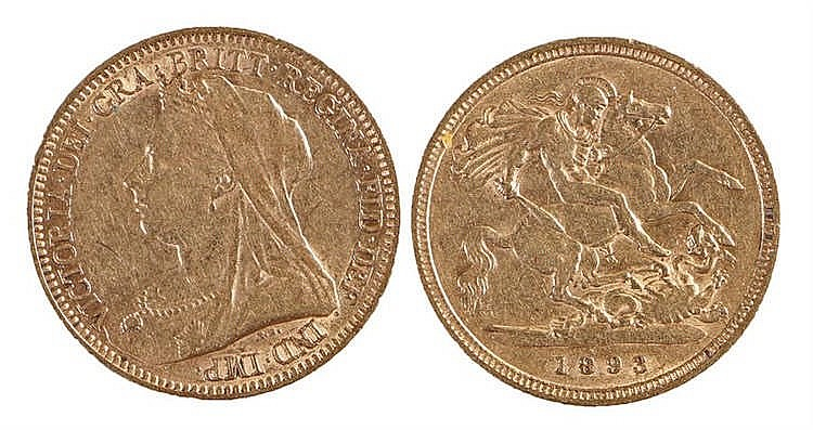 Victoria Half Sovereign, 1893, St George and the Dragon - Stock Ref:1972-25