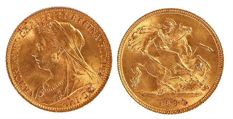 Victoria Half Sovereign, 1899, St George and the Dragon - Stock Ref:2315-3