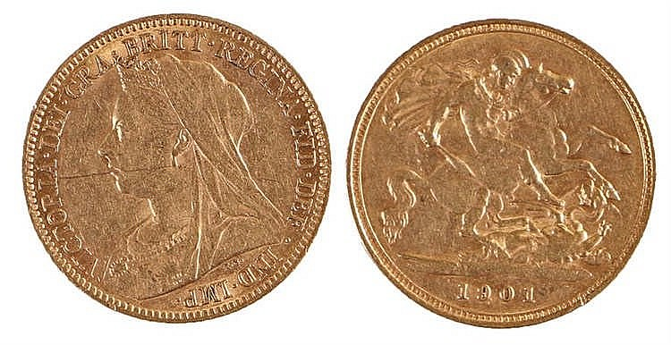 Victoria Half Sovereign, 1901, St George and the Dragon - Stock Ref:1972-24