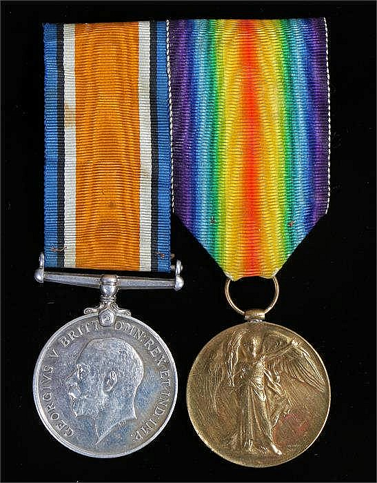 First World War pair, Victory and War medals, (105436 CPL. H.E. RUSHTON. R.