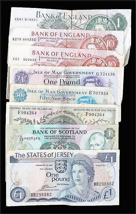 UK Banknotes, to include Scotland £1, State of Jersey £1, State of Guernsey