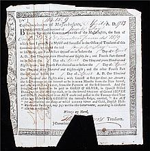 18th Century Commonwealth of Massachusetts war bond,  dated 1793, for the s