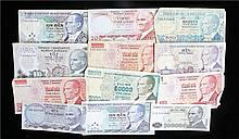 Banknotes, Turkey, various denominations, (qty) - Stock Ref:3316-6