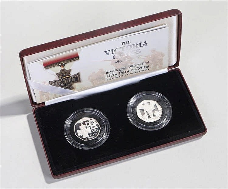 Victoria Cross Fifty pence coin set, the case with two proof silver 50 penc