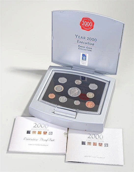 Royal Mint UK year 2000 executive proof coin collection set, with paperwork