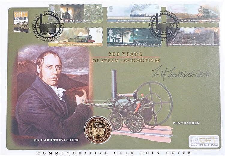 Elizabeth II gold Two Pounds 2004, celebrating 200 years of steam locomotiv