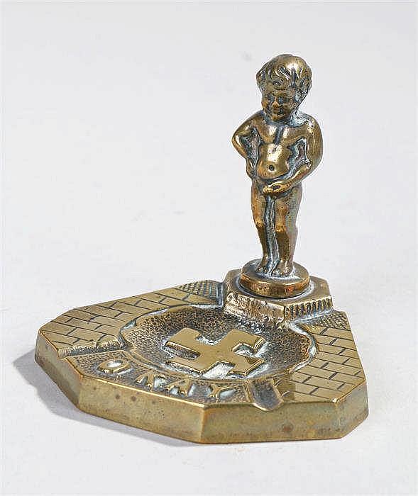 Brass anti-Nazi souvenir ashtray depicting the