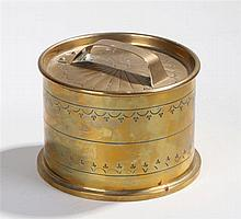 Trench art brass tobacco box and cover with swag decoration and tamper to t