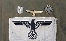 World War II German Third Reich sports shirt fabric with eagle badge and sw